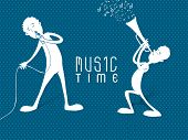 White silhouette of boys singing in mike and playing trumpet on blue abstract background. poster