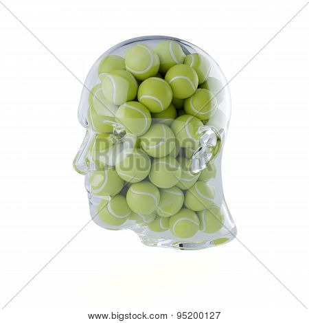 Glass Transparent Human Head Filled With Tennis Balls