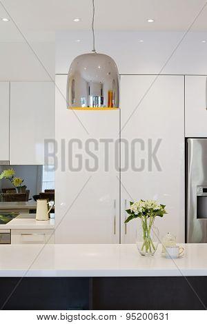 Modern Kitchen Renovation With Chrome Penant Light