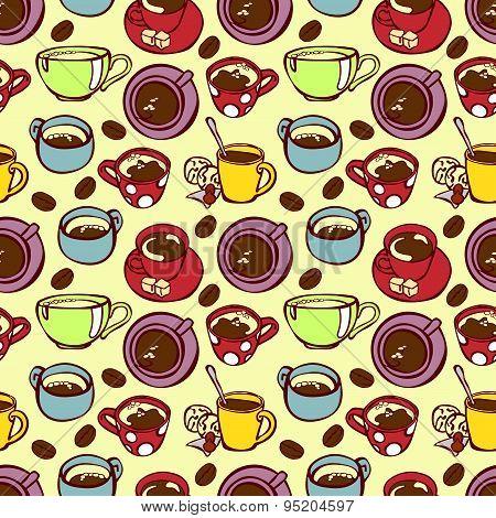 Set of cute cups, mugs.