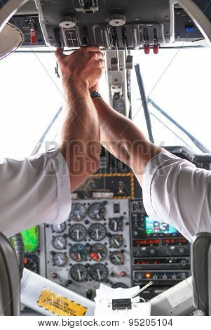 Photo Rear View Of Pilot And Copilot In Airplane Cockpit