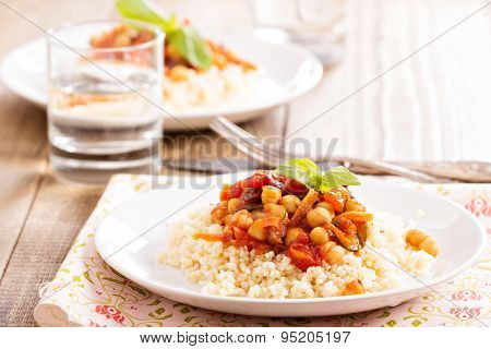 Cous-cous with chickpea and vegetable stew