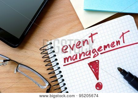 Notepad with event management.