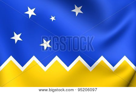 3D Flag of the Magallanes and Antartica Chilena Region. Close Up. poster