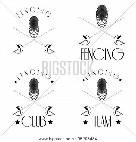 Fencing Logos With Fencer, Mask, Crossed Foils , Ieasy To Edit