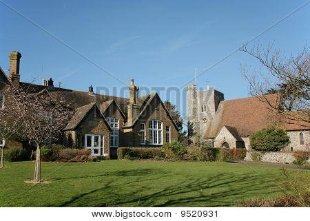English Village School And Church