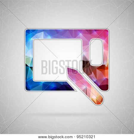 Abstract creative concept vector icon of graphics tablet. For web and mobile content isolated on bac
