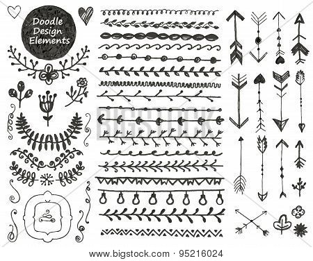 vector floral decor set, collection of hand drawn doodle frames, dividers, borders, arrows design el