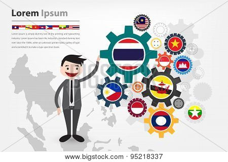 economic gear driving in asean country (aec) displayed in vector eps10 poster