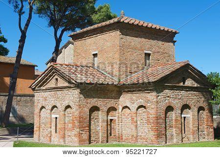 Exterior of the Mausoleum of Galla Placidia in Ravenna, Italy.