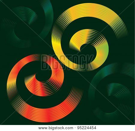 Colorful Vector Design Of Spiral Elements With Space For Text