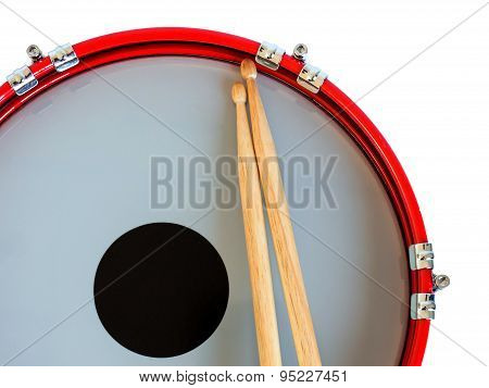 Snare drum with coated head and drumstick isolated on white background. Clipping path.