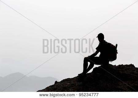 Man Hiking Inspiration Silhouette