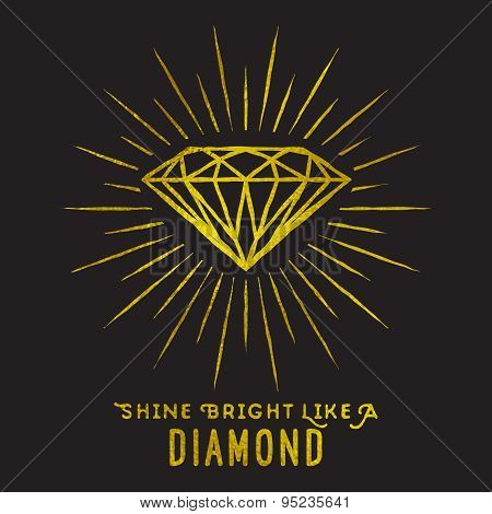 Hipster Style Of Diamond Shape On Star Light.