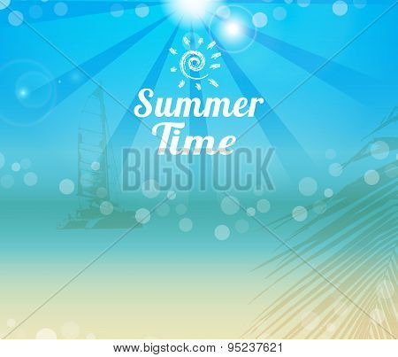 Summer Time Poster Yach Silhouette Background
