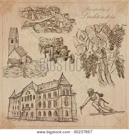 Liechtenstein (travel)  - An Hand Drawn Vector Pack