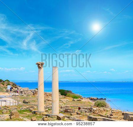 Tharros Columns On A Clear Sunny Day