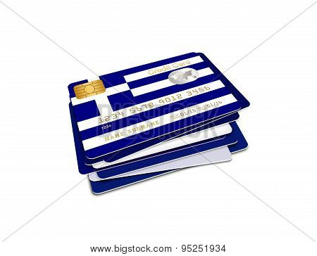 Greek Credit Cards Isolated Over White