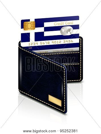 Greek Credit Card In Wallet Isolated Over White