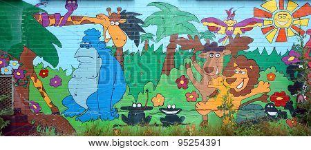 Street art Montreal funny zoo