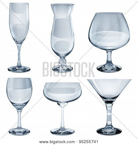 Set of empty opaque glass goblets for wine cocktail champagne and cognac. In light blue color poster