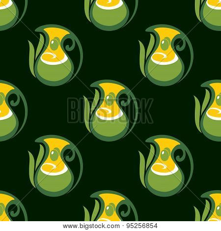 Seamless pattern of olive oil in jugs