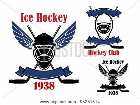 Ice hockey club icons with sport items