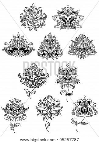Indian flowers in ethno style with intricate curved petals adorned paisley ornamental elements for lace embellishment or romantic decoration design poster
