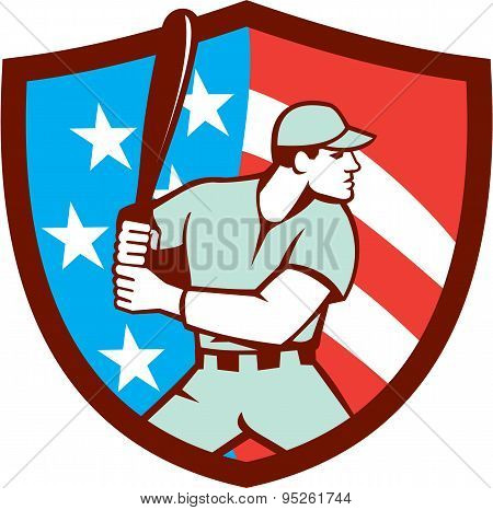 American Baseball Batter Hitter Shield Retro