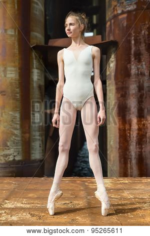 Graceful ballerina in a white bathing suit standing on pointe against a background rusty background, bridge abutments. poster