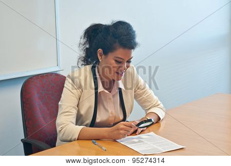 Business woman examine contract details by magnifier