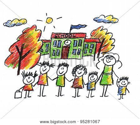 School and happy children