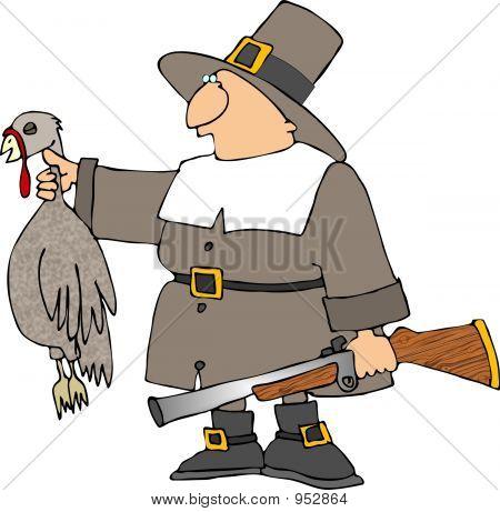 Pilgrim With A Turkey