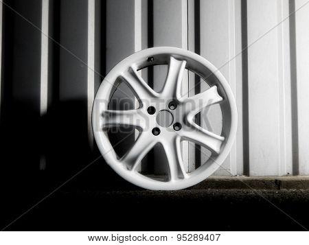 Demounted car wheel