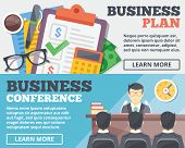 Business plan and business conference flat illustration concepts set. Flat design concepts for web banners, web sites, printed materials, infographics. Creative vector illustration poster
