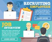 Recruiting employees, job interview flat illustration concepts set. Flat design concepts for web banners, web sites, printed materials, infographics. Creative vector illustration poster
