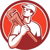 Illustration of a tradesman plumber holding adjustable monkey wrench on shoulder looking up to the side set inside circle on isolated background done in retro style. poster