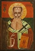 Old Bulgarian Icon of Saint Athanasius (Atanas the Great) of Alexandria one of the four Doctors of the Church. Greek patriarch of Alexandria who championed Christian orthodoxy against Arianism (293-373) poster