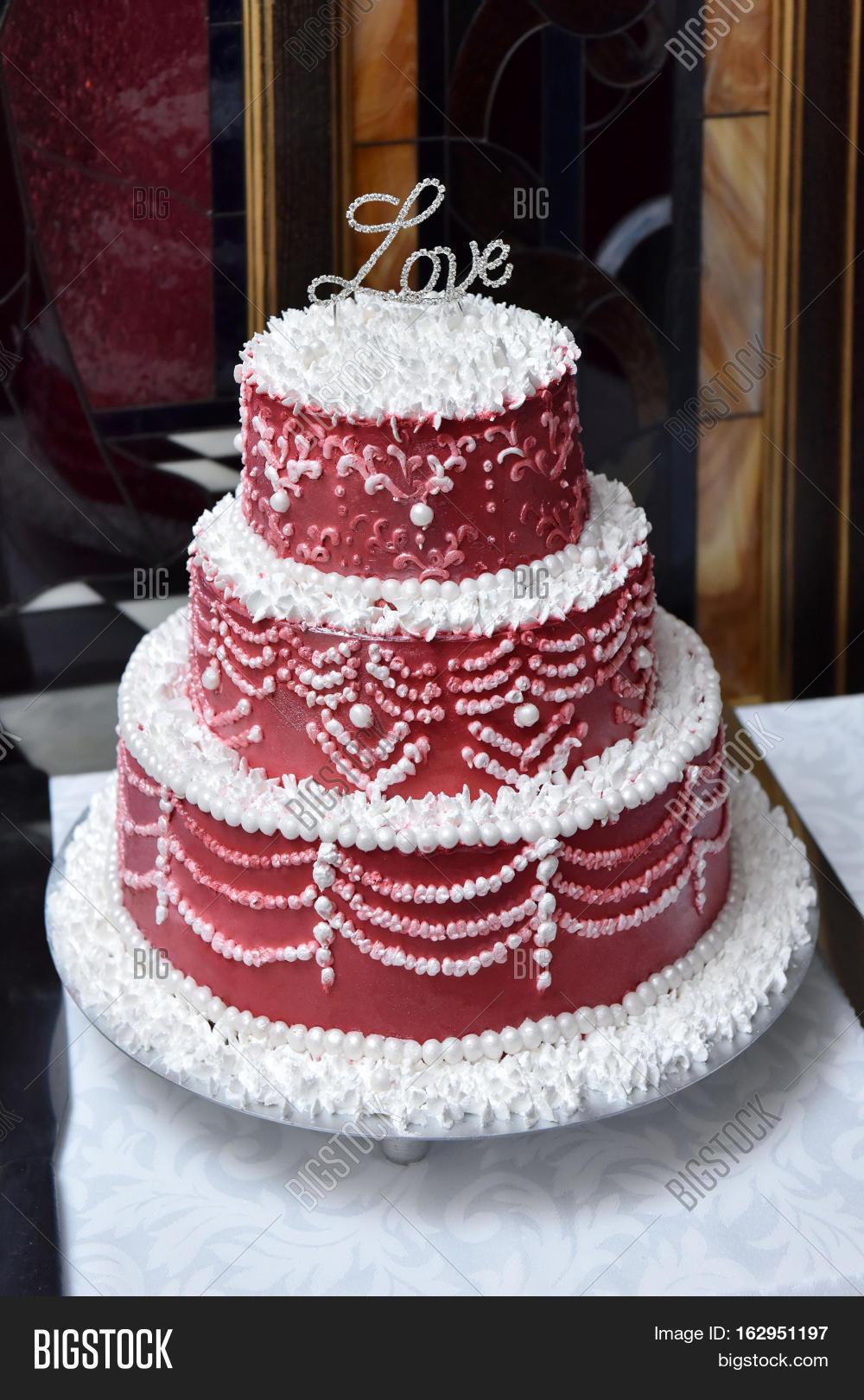 Wedding Red White Cake Image Photo Free Trial Bigstock