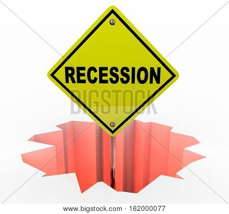 Recession Economy Warning Sign Financial Downturn 3d Illustration