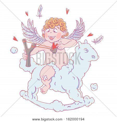 Valentine's day. Funny Cupid on a cloud horse shoots with a slingshot. Vector illustration isolated on white background. Card. T-shirt print.