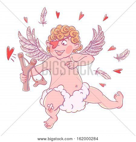 Valentine's day. Funny Cupid with patch on the knee on a cloud shoots with a slingshot. Vector illustration isolated on white background. Card. T-shirt print.