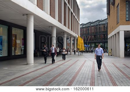 EXETER UK 11 July 2016: People in the shopping and business center of the city. Exeter