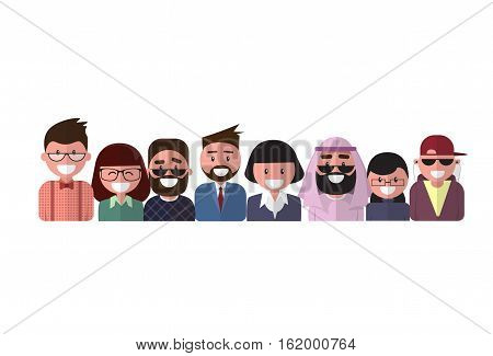 Profile Icon Male And Female Avatar, Woman Man Cartoon Portrait, Mix Race Person Silhouette Face Flat Vector Illustration