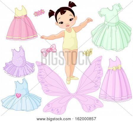 Paper baby girl doll with different fairy, ballet and princess dresses