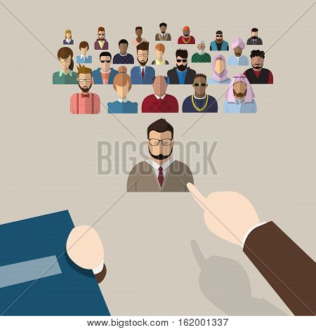 Recruitment Hand Point Finger Picking Business Person Candidate People Group Flat Vector Illustration