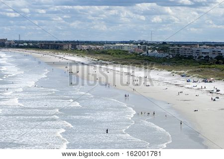 The view of Cape Canaveral resort town beach (Florida).