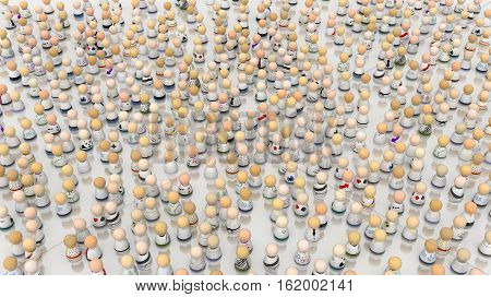 Crowd of small symbolic figures white colors 3d illustration horizontal