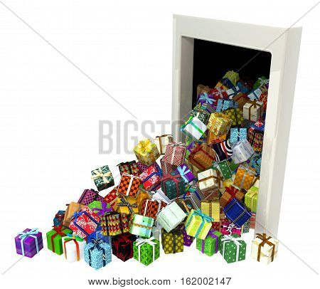 Gift boxes large group 3d illustration open door falling out isolated horizontal over white