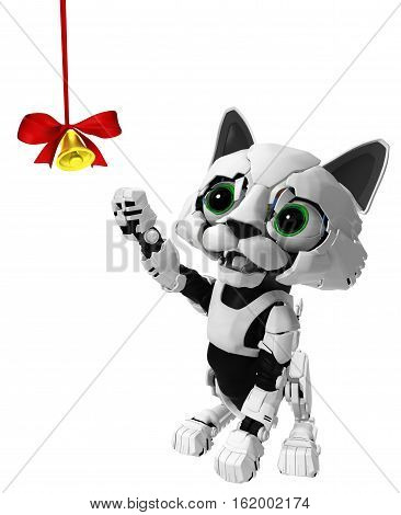 Robotic kitten with bell ribbon 3d illustration vertical isolated
